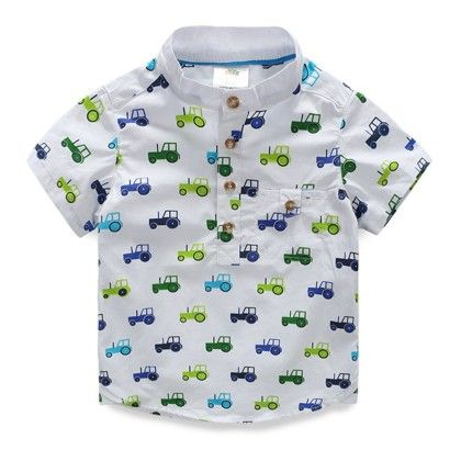 Cute Truck Print Shirt For Boys - Mauve Collection