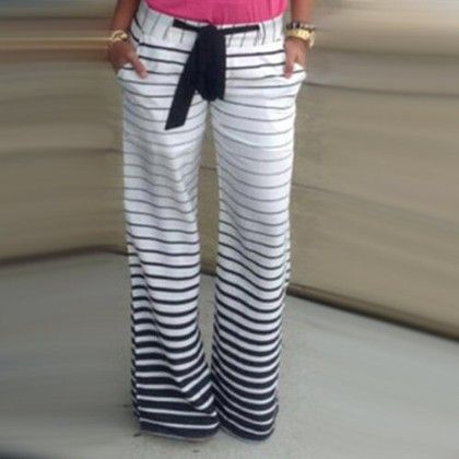 Striped Full Length Pants - Oomph
