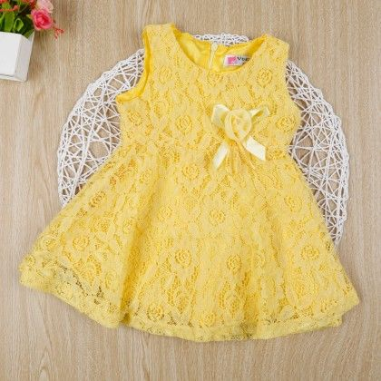 Yellow Classy Floral Lace Dress - Gianna