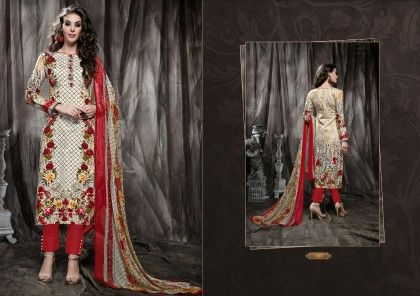 Rosey Beige Dress Material - Fashion Fiesta