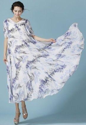 Women's Printed Maxi Dress - Mauve Collection