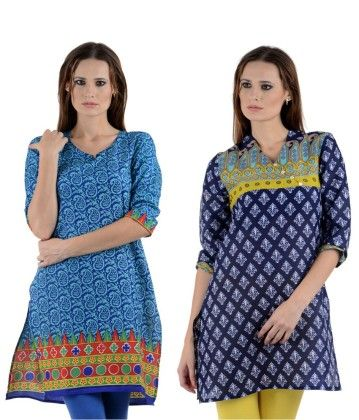 Combo Of Two Kurti Sky Blue & Blue - Brand Stand