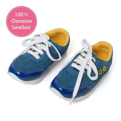 Blue Lace  Tie-up Leather Jogger Shoes - Tuskey Shoes