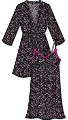 Lace Me Up Robe And Chemise Set Black - Rene Rofe