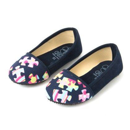 Navy Blue Ballerina Shoes With Puzzle Print - Lek Cotton