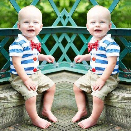 Cute Blue Striped Shirt & Shorts 2 Pcs Set - Dapper Dudes