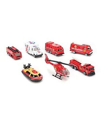 Fire Brigade Vehicle Gift Set Red- Pack Of 7 - PlayMate