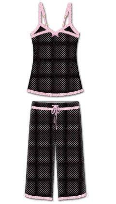 Love That Lace Capri Pj Set- Black - Rene Rofe