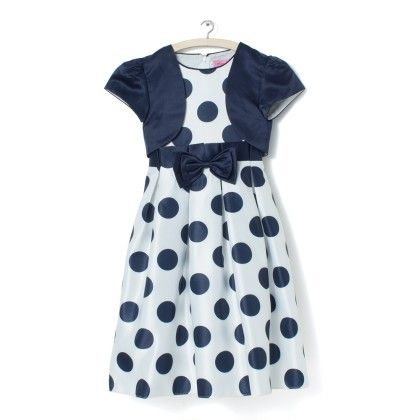 White With Navy Polka Dot Dress - Party Princess