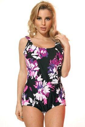 Black & Purple Plus Size One Piece Tank Swimsuit - Dippin Daisy