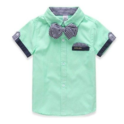 Classic Bow Shirt For Spring Summer - Green - Mauve Collection