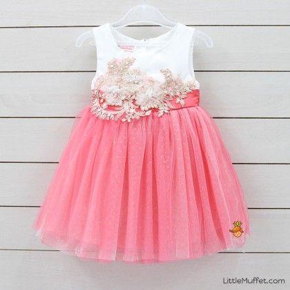 Peach Lace Applique Dress - Little Muffet