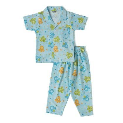 Pet Paw Prints Night Suit - Blue - Do Re Me