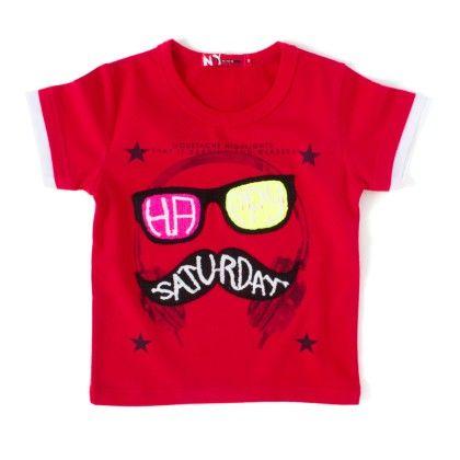 Happy Saturday Red Round Neck T-shirt - NODDY