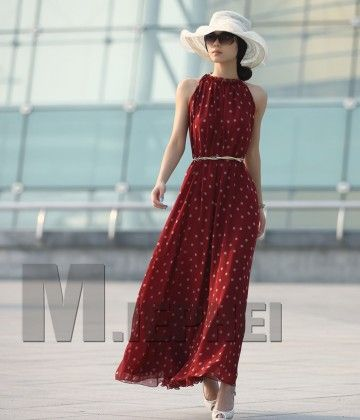 Red Polka Dots Maxi Long Dress - STUPA FASHION