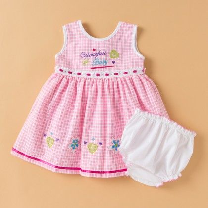 Pink Colourfull Baby Frock With Panty - 2 Pc - Pinafore