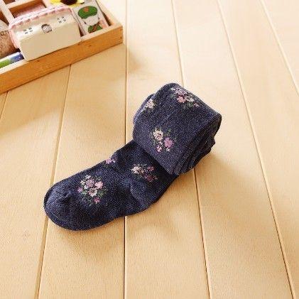 Waist High Stocking, Floral Dark Blue - Cherry Blossoms