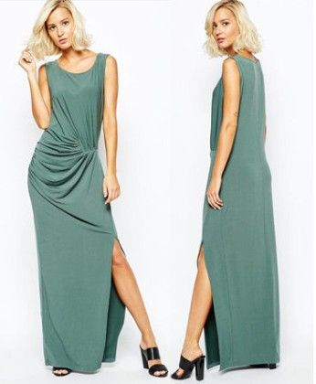 Green Ruched Maxi Dress - Oomph