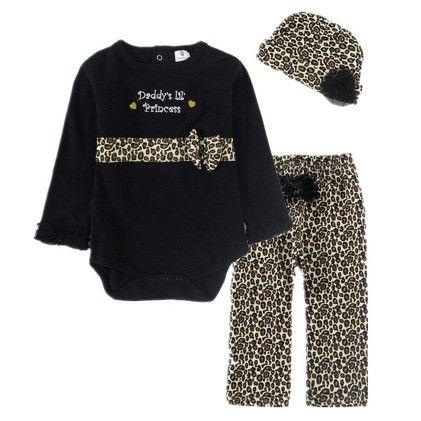 Cute Black Romper With Leopard Print Pant & Hat - 3 Pcs Set - Little Spring