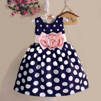 Blue And White Polka Dots Dress - Teddy Guppies
