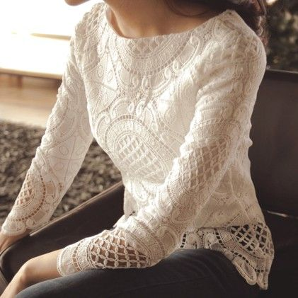Embroidery Floral Lace Crochet Tops Hollow Out Lace Blusas White - STUPA FASHION