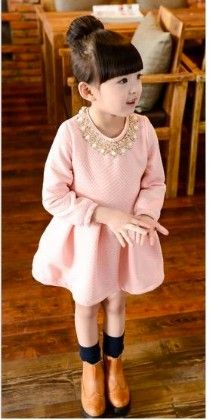 Cute And Trendy Spring Special Pearl Highlighted Dress - Mauve Collection