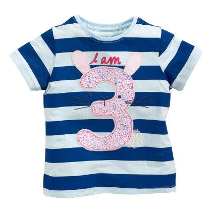 Blue Stripes I Am 3 Half Sleeves T-shirt - Lil Mantra