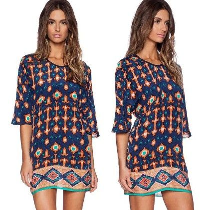 Floral Print Ethnic Short Dress - Drape In Vogue