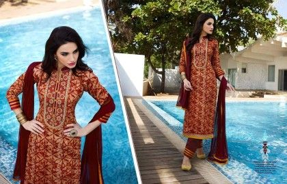 Brown Embroidery Dress Material - Fashion Fiesta