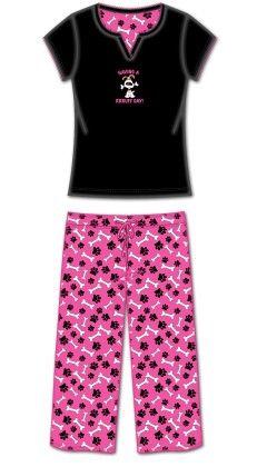 2 Pc Tshirt With Capri Pant Pj- Multi - Rene Rofe
