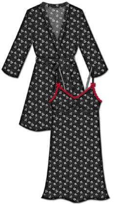 Lace Me Up Robe And Chemise Set- Black - Rene Rofe