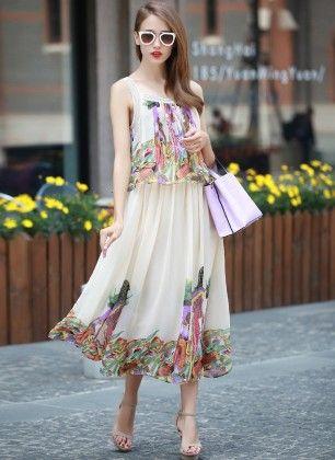 Tropical Printed Chiffon Maxi Dress - Mauve Collection