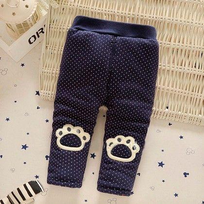 Blue Cute Paw Applique Polka Dot Leggings - Jazzy Snazzy