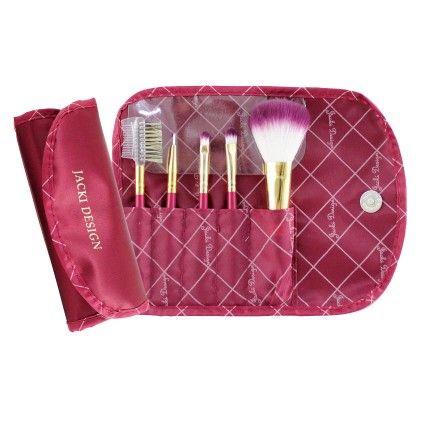 Red Vintage Allure 5 Pc Make Up Brush Set And Bag - Jacki Design