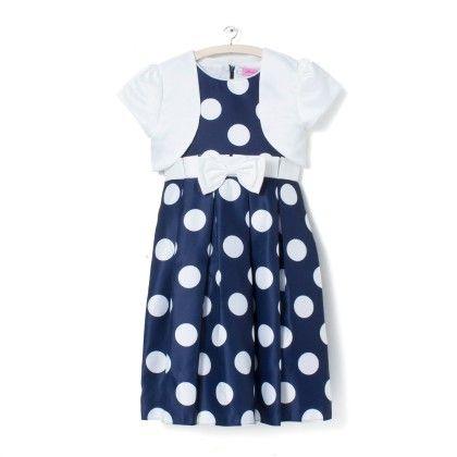 Navy With White Polka Dot Dress - Party Princess