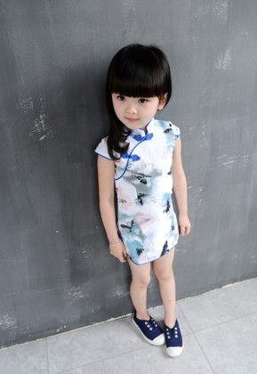 White & Blue Qipaos Cheongsam Dress - Tulip