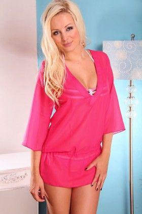 Pink Sheer Chiffon V-neck Tunic With Adjustable Drawstring - Dippin Daisy