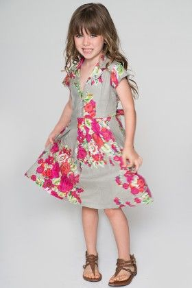 Gray & Fuchsia Floral Cap Sleeve Dress - Toddler & Girls - Yo Baby