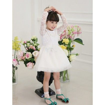 White A Dainty White Lace Dress - Cherry Blossoms
