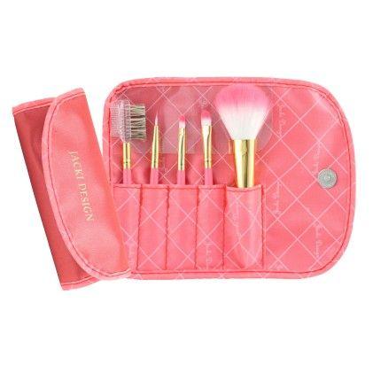Coral Vintage Allure 5 Pc Make Up Brush Set And Bag - Jacki Design