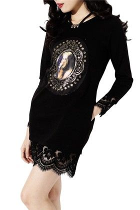 Black Top With Lace - Mauve Collection