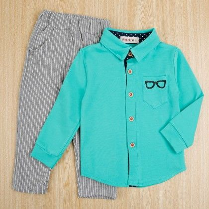 Specky Shirt And Striped Pant - Set Of 2 - Green - Teensy Weensy