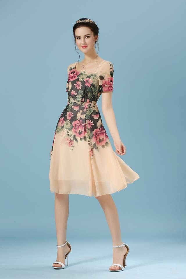 Beautiful Floral Print Dress Beige - Mauve Collection