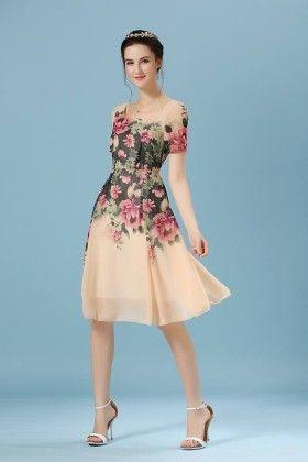Beautiful Floral Print Dress Beige - Mauve Collection