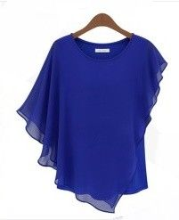 Ruffle Sleeve Women's Blue Top - STUPA FASHION