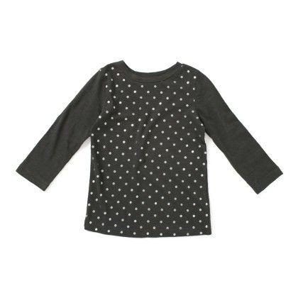 Black Polka Dot Cotton T-shirt - SBUYS