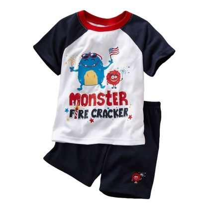 Cute Monster Print T-shirt And Shorts - 2 Pcs Set - White - Jumping Baby