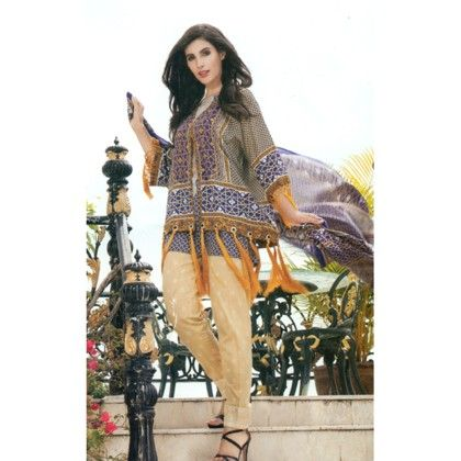 Taupe & Blue Printed Semistitched Suit - Mauve Collection
