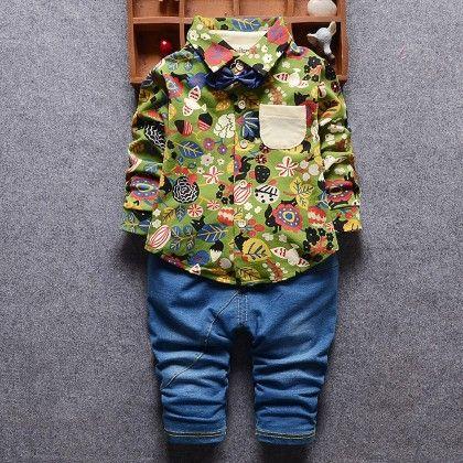Aop Shirt With Bow & Denim Pant Set- Green - Lil Mantra