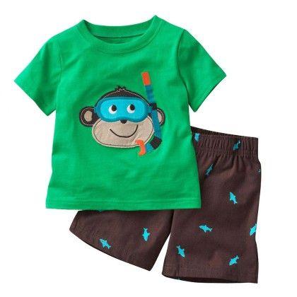 Cute Monkey Print T-shirt And Shorts - 2 Pcs Set - Green - Jumping Baby